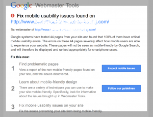 Example email from Google Webmasters